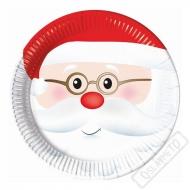 Papírové vánoční talíře Santa
