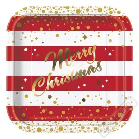 Papírové vánoční talíře Quadrio