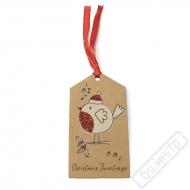Vánoční jmenovky na dárky Ptáček