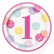 Papírové party talíře 1. narozeniny Pinky