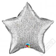Nafukovací balónek Hvězda třpytivá stříbrná 51cm