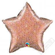 Nafukovací balónek Hvězda třpytivá Rose-gold 51cm