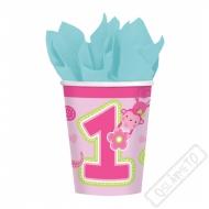 Papírové party kelímky 1. narozeniny růžové