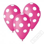 Latexový balónek s puntíky fuchsiový