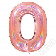Nafukovací balón číslo 0 Glitter Rose Gold 102cm