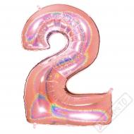 Nafukovací balón číslo 2 Glitter Rose Gold 102cm