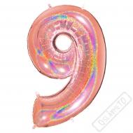 Nafukovací balón číslo 9 Glitter Rose Gold 102cm