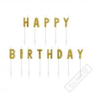 Narozeninové svíčky Happy Birthday Gold