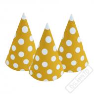 Papírové party kloboučky s puntíky žluté