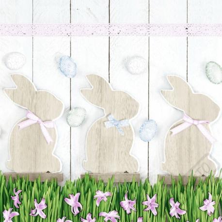 Velikonoční papírové ubrousky Zajíčci Pastel