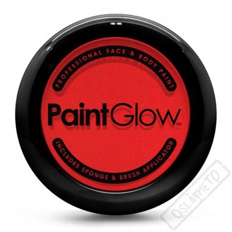 Obličejová barva s houbičkou a štětcem červená