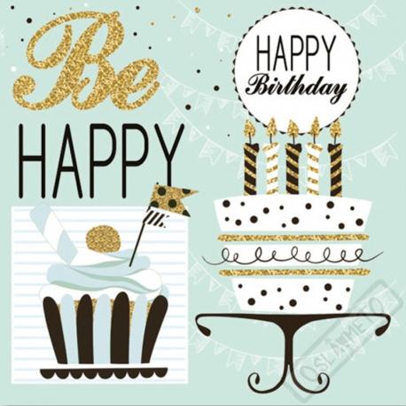 Papírové narozeninové ubrousky Be Happy