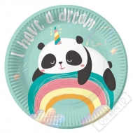 Papírové party talíky Panda Rainbow