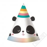 Papírové party kloboučky Panda Rainbow