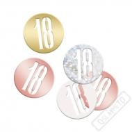 Dekorační konfety na stůl číslo 18 Rose-Gold