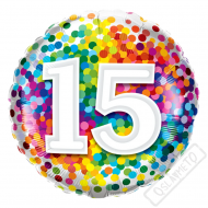 Narozeninový balónek Confetti číslo 15, 45cm