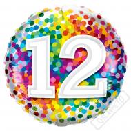 Narozeninový balónek Confetti číslo 12, 45cm