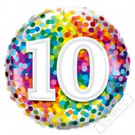 Narozeninový balónek Confetti číslo 10, 45cm