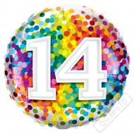 Narozeninový balónek Confetti číslo 14, 45cm