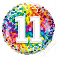 Narozeninový balónek Confetti číslo 11, 45cm