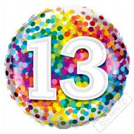 Narozeninový balónek Confetti číslo 13, 45cm