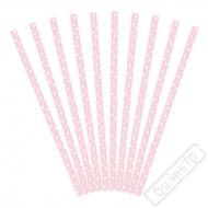 Papírová brčka s puntíky Baby Pink