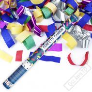 Vystřelovací konfety metalické barevné 60cm