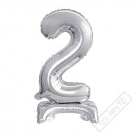 Nafukovací balónek se stojánkem číslo 2 Silver 38cm