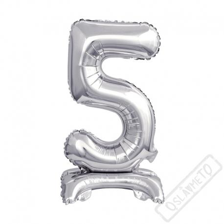 Nafukovací balónek se stojánkem číslo 5 Silver 38cm