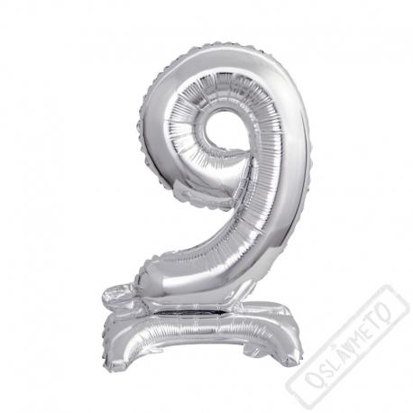 Nafukovací balónek se stojánkem číslo 9 Silver 38cm