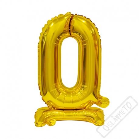 Nafukovací balónek se stojánkem číslo 0 Gold 38cm