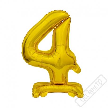 Nafukovací balónek se stojánkem číslo 4 Gold 38cm