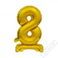 Nafukovací balónek se stojánkem číslo 8 Gold 38cm