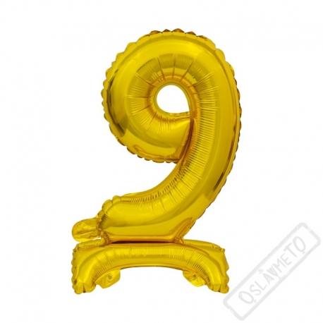 Nafukovací balónek se stojánkem číslo 9 Gold 38cm