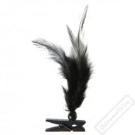 Dekorační kolíček s peříčky černý