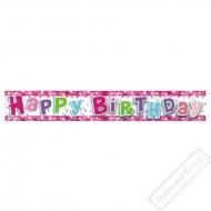 Narozeninový fóliový banner Pink Star