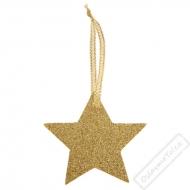 Vánoční jmenovky Hvězdy Glitter zlaté