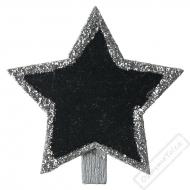Dekorační kolíček s tabulkou Hvězda stříbrná