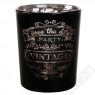 Skleněný svícen na čajovou svíčku Vintage