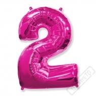 Nafukovací balón číslo 2 růžový 101cm