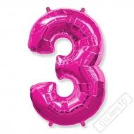 Nafukovací balón číslo 3 růžový 101cm