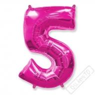 Nafukovací balón číslo 5 růžový 101cm