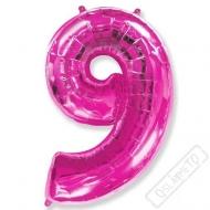 Nafukovací balón číslo 9 růžový 101cm