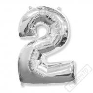 Nafukovací balón číslo 2 stříbrný 95cm