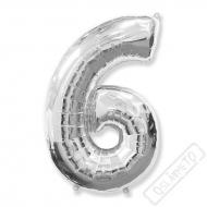 Nafukovací balón číslo 6 stříbrný 101cm