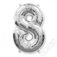 Nafukovací balón číslo 8 stříbrný 101cm
