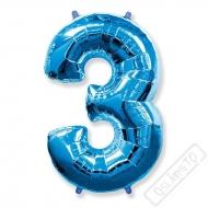 Nafukovací balón číslo 3 modrý 95cm