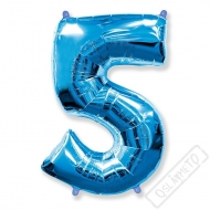 Nafukovací balón číslo 5 modrý 101cm