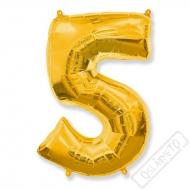 Nafukovací balón číslo 5 zlatý 101cm