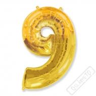 Nafukovací balón číslo 9 zlatý 101cm